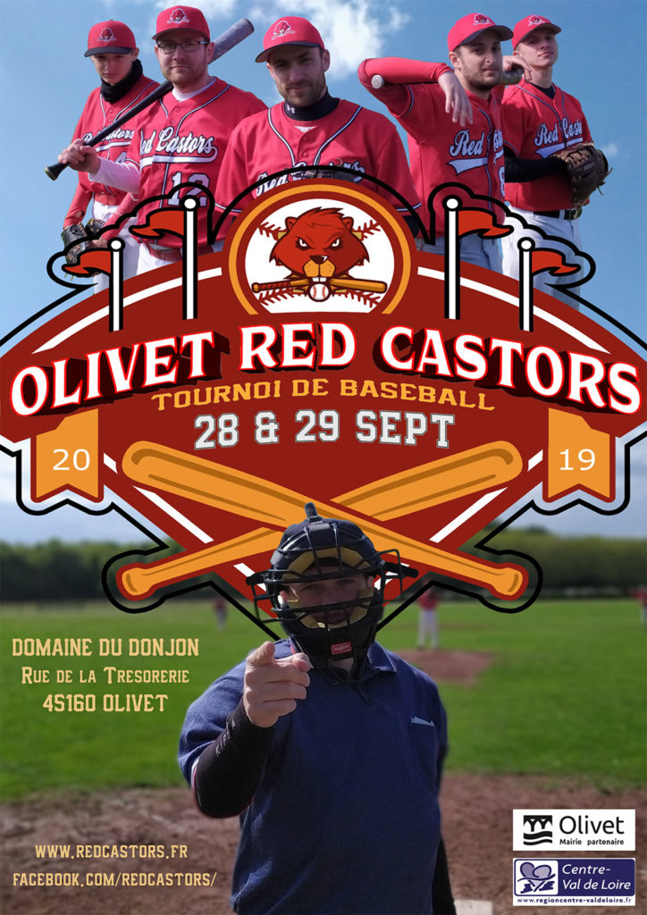 Olivet red Castors - Tournoi de baseball niveau régional les 28 et 29 septembre 2019.